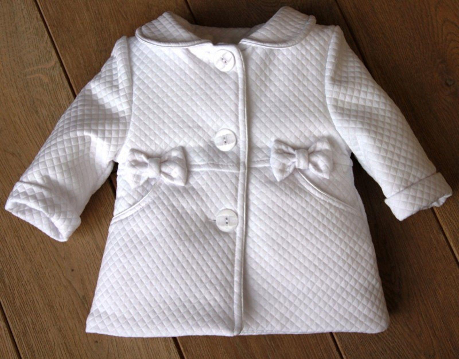 BIMARO Baby Mädchen Mantel Lea weiß Taufmantel Babymantel