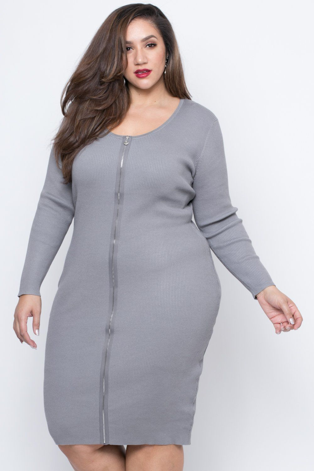 bb0be04fa8 Plus Size Zip Up Sweater Dress - Grey in 2019