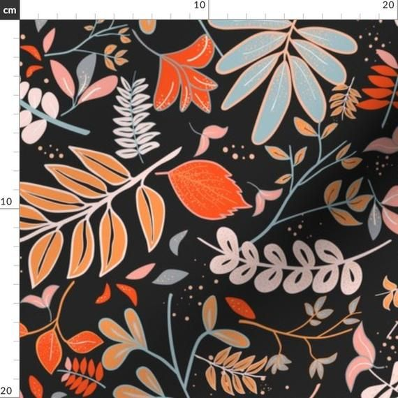 Autumn Colored Leaves Botanical Print Fabric - Woodland By Morsky - Autumn Leaves Falling Cotton Fab #autumnleavesfalling