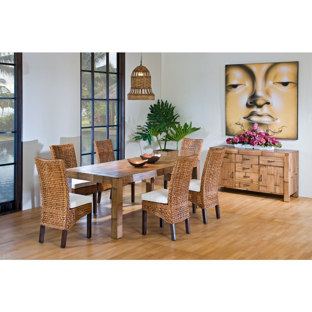 Rattan Shack Pegasus Indoor 7 Pc Rattan & Wicker Dining Set With Gorgeous Wicker Dining Room Sets Decorating Design