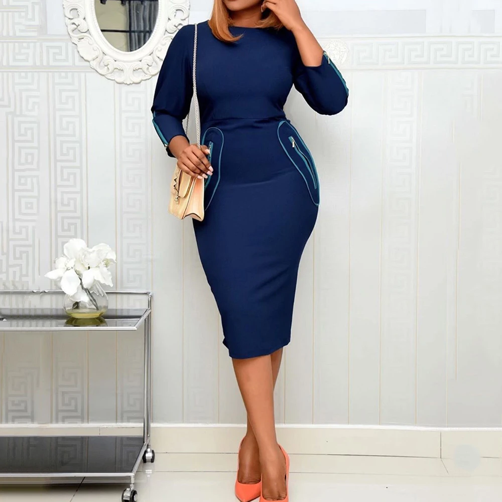 Elegant Office Ladies Workwear Midi Dress 2020 Spring African Style Women Plus Size Dark Blue Retro Dresses Vintage Vestiods #africanstyleclothing