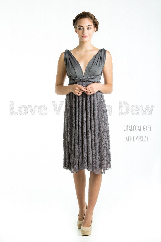 Grey lace wedding dress  Bridesmaid Dress Infinity Dress Charcoal Grey Lace Knee Length Wrap