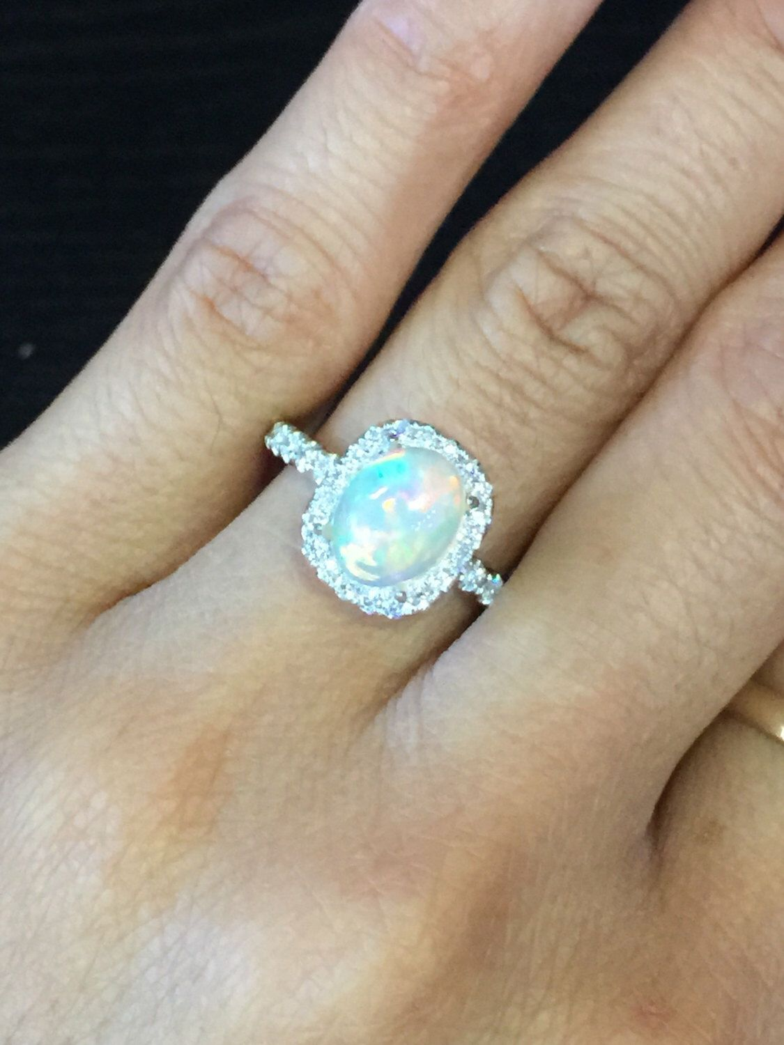 Payment Plan 18k White Gold Diamond Halo Oval Fire Opal Engagement