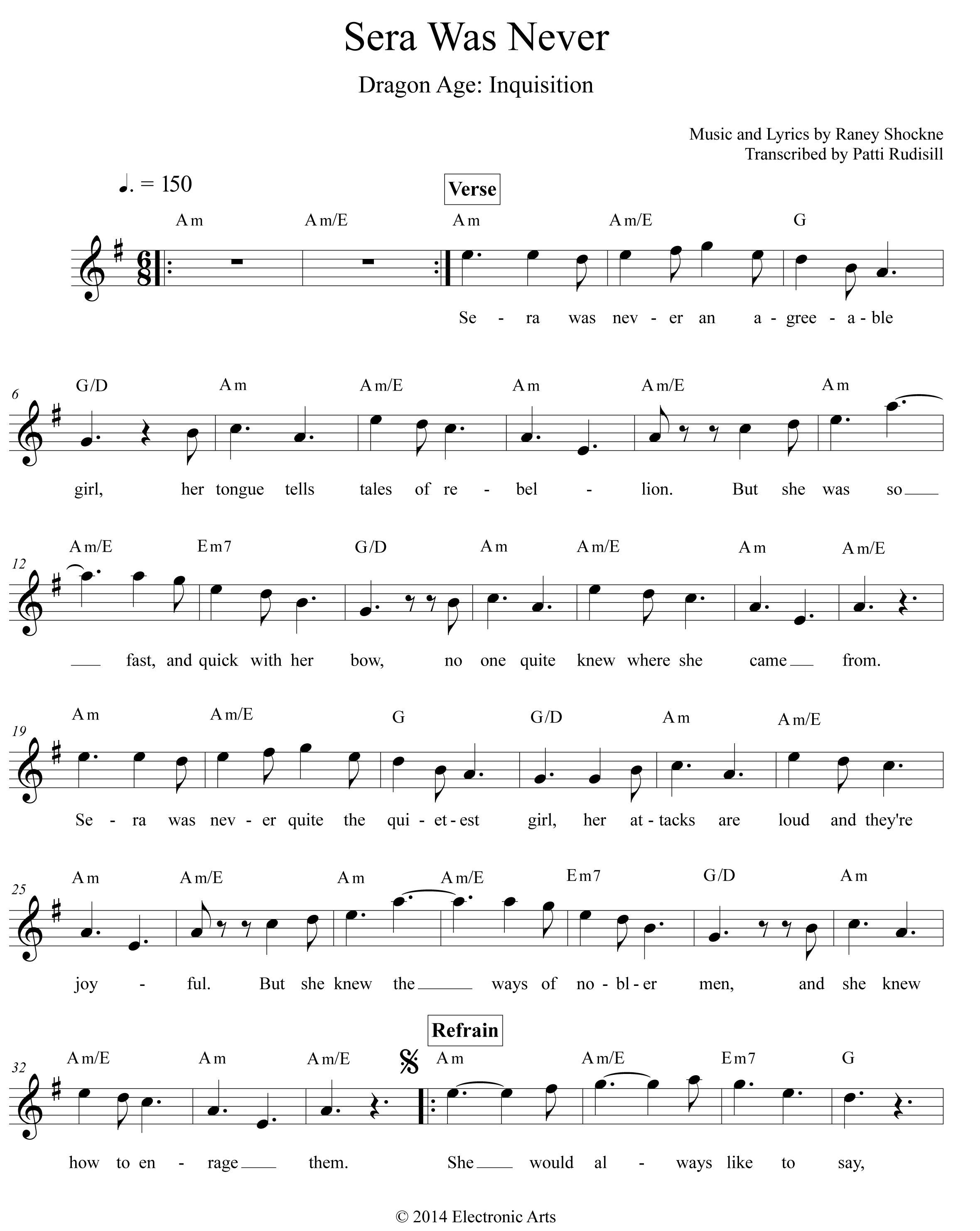 Dragon Age Inquisition Tavern Songs Sheet Music With Images