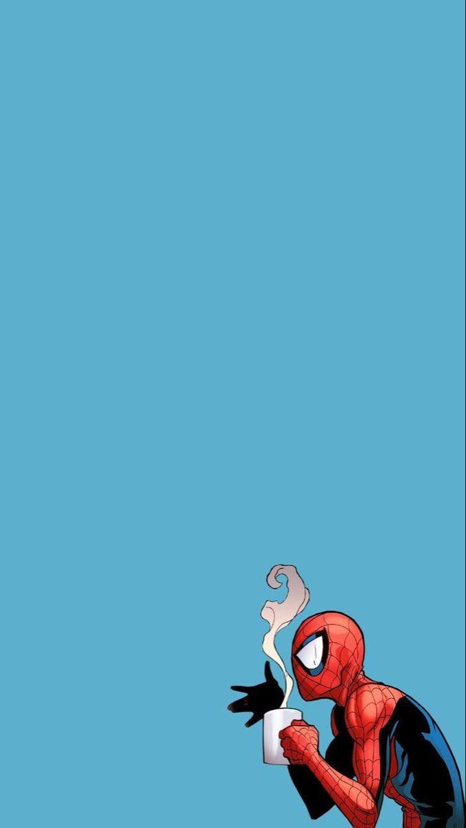 Spider-Man tomando café.