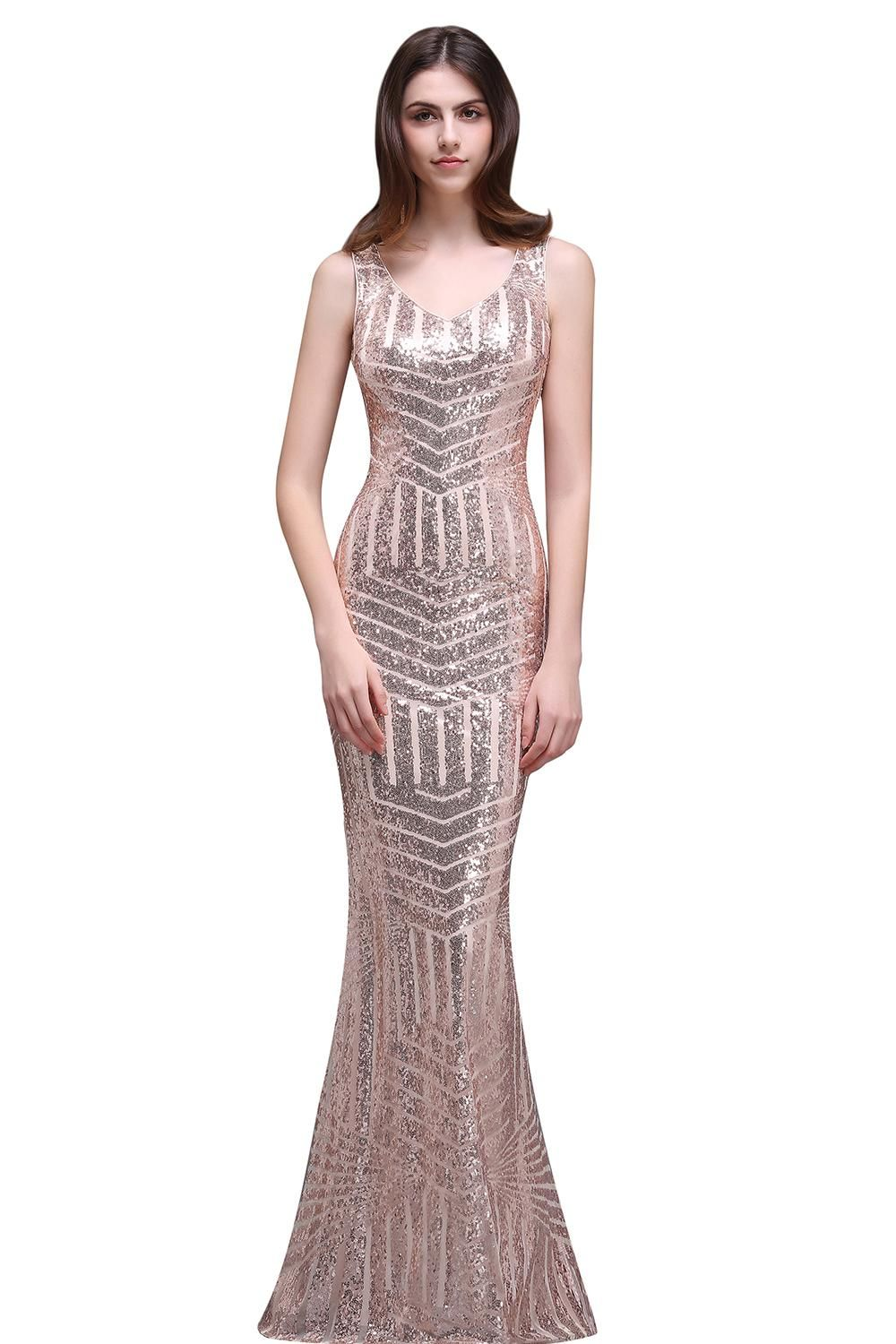 special design rose gold sequins evening dresses v neck floor