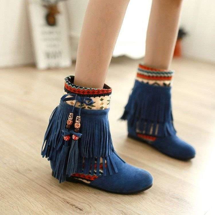 Women's Fashion Hidden Wedge Heel Short Boots Tassels Boots