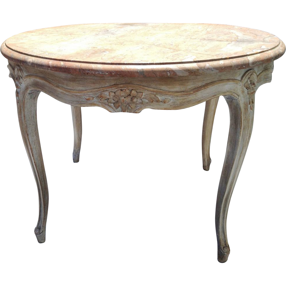 Vintage Round French Carved Coffee Table Tail W Marble Top Lxv Style