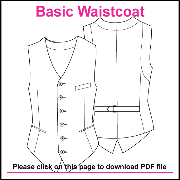 BASIC SINGLE BREASTED WAISTCOAT PATTERN, CREATED IN ILLUSTRATOR ...