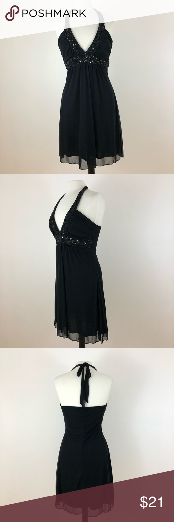 Black beaded halter dress size large black halter dress with beads