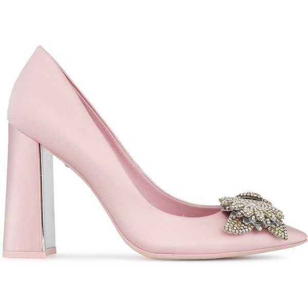 5260e297c09 Sophia Webster Pink Satin lilico embellished 105 pumps ( 650) ❤ liked on Polyvore  featuring