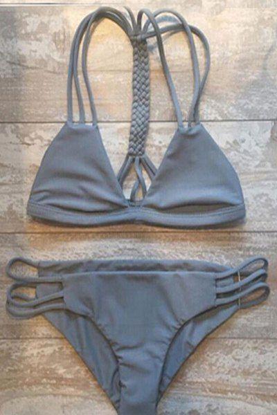 Gray Cutout String Bikini Set from clothing