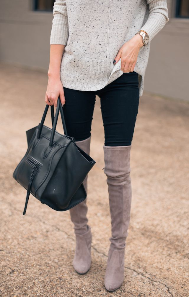 8a181570a5c Over the knee boots with pants. black leather purse. dark wash jeans.  leggings. neutral sweater. tan. grey. gray. winter fashion. fall fashion.