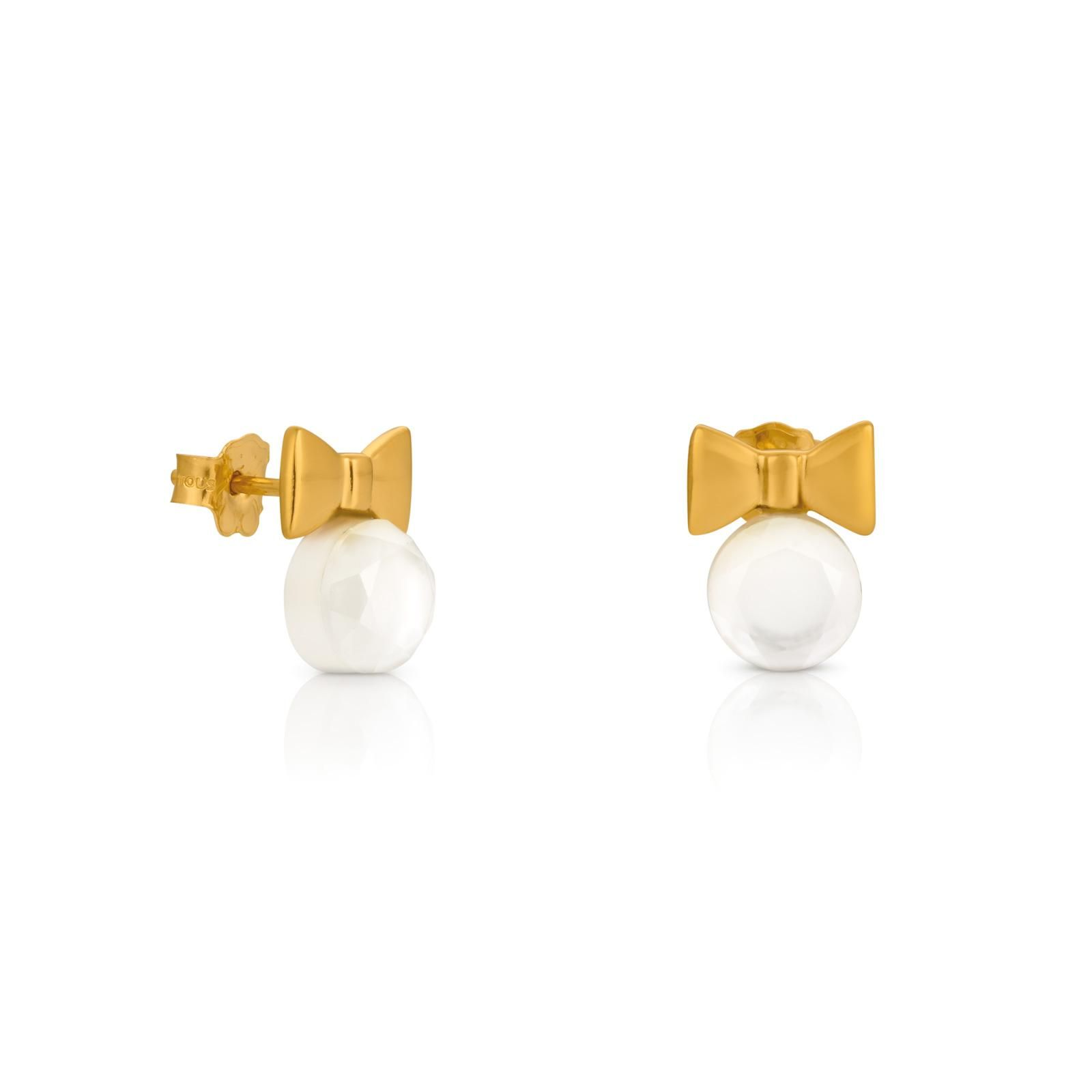 18kt Yellow Gold Tous Fermé Earrings With Mother Of Pearl And Rock Crystal  Stud Lock
