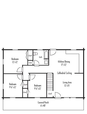24x40 3 Bedroom 960sqft Floor Plans My House Plans Small House Plans