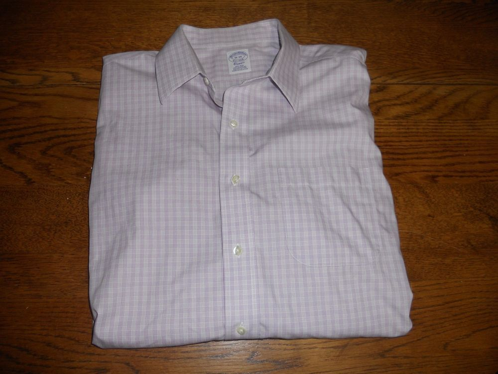 1806d7ee8f02a BROOKS BROTHERS Classic Long-Sleeve Non-Iron Cotton 16-34 Check  fashion