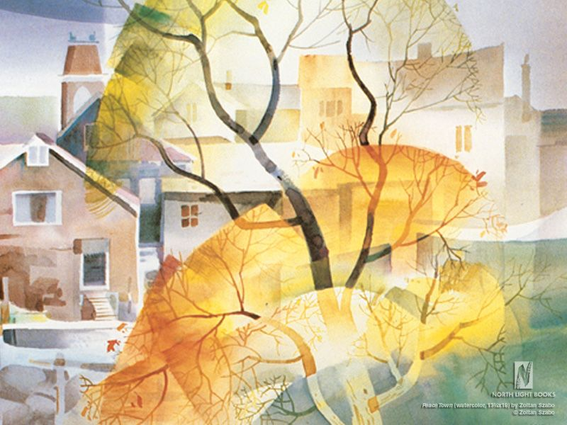 Love The Way Zoltan Szabo Painted This Tree Watercolor Art