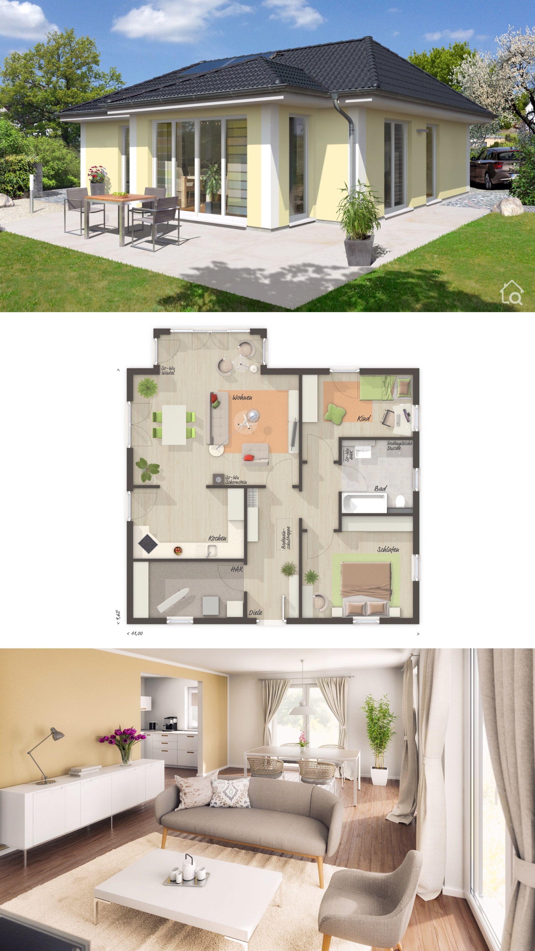 Massivhaus Bungalow mit Walmdach Architektur