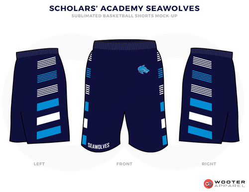 3c4499a1440 SCHOLARS ACADEMY SEAWOLVES Black Blue and White Basketball Uniforms ...