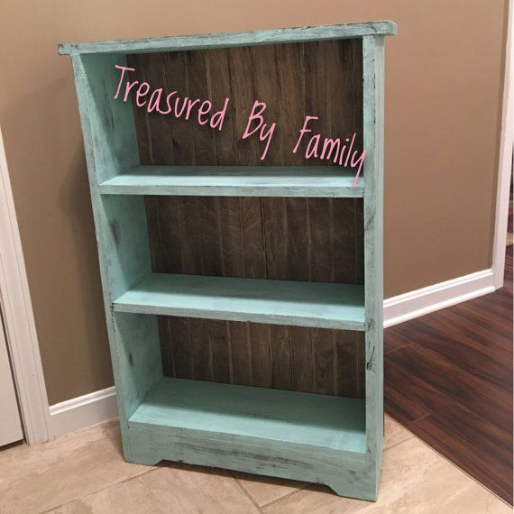 newest 47808 b51ef Turquoise bookshelf with barnwood effect backing distressed ...