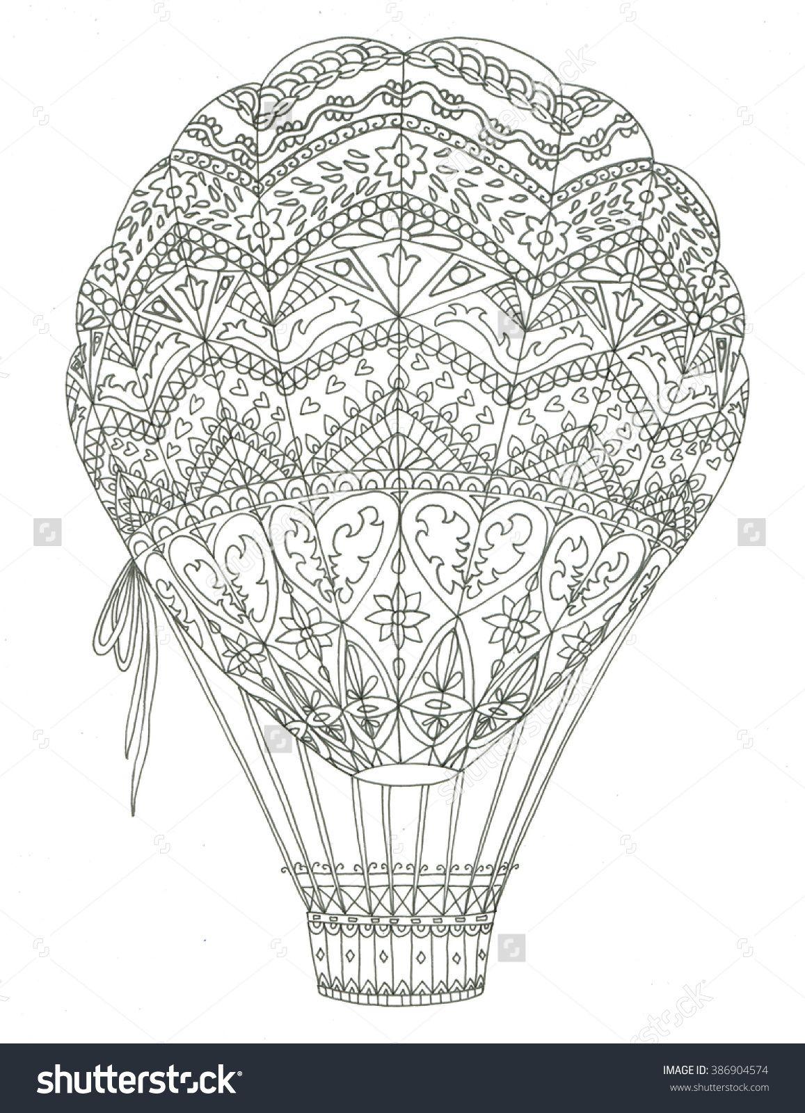 Air balloon coloring page | Color | Pinterest | Globo y Mandalas