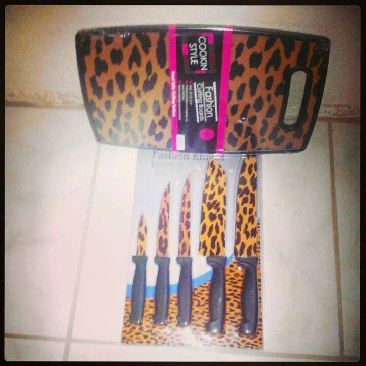 Zebra Print Kitchen Decor: Cheetah Print Knife Set And Cutting Board. Cuttin In Style
