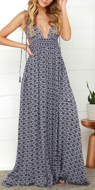 Printed deep v maxi dress