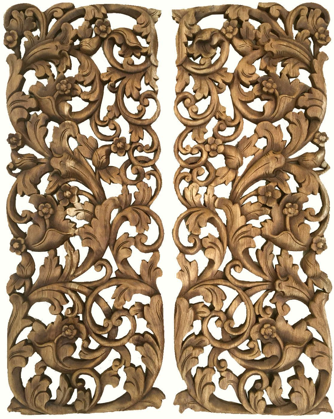 Wood Carved Wall Decor tropical home decor. bali home decor. floral wall art panel. wood