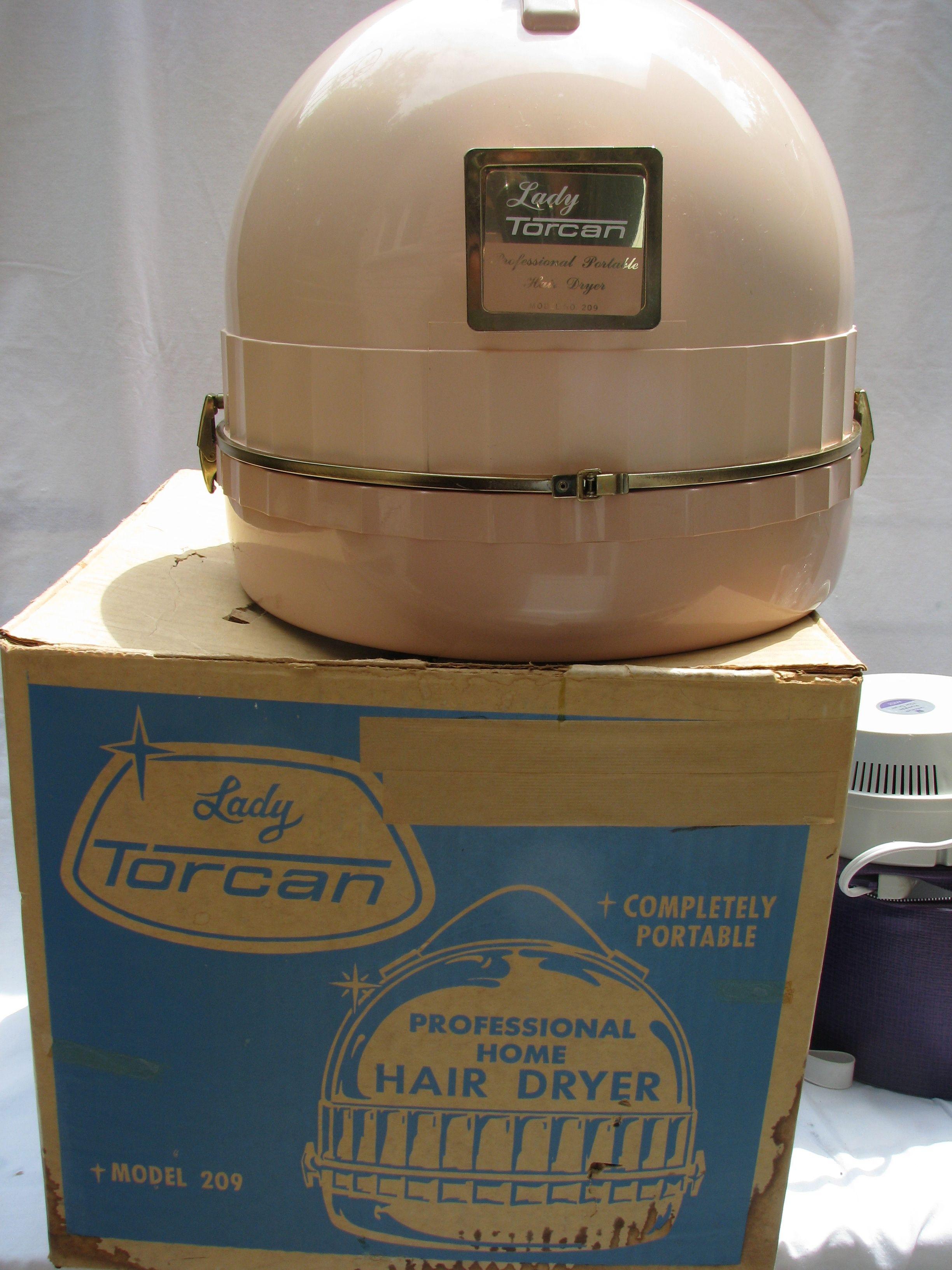Vintage 60u0027s Lady Torcan Table Top Hair Dryer In Soft Pink.