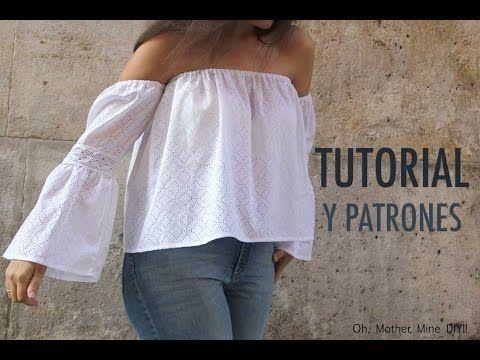 DIY Patrones y tutorial  Camiseta blanca sin hombros para mujer - YouTube 030898965c6c3