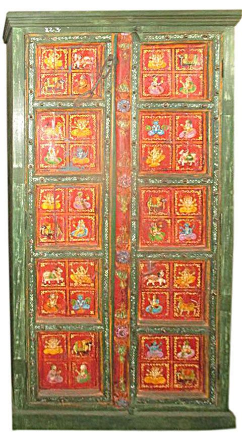 Vintage Cabinet Reclaimed Ganesh Painted Storage Armoire Furniture ...
