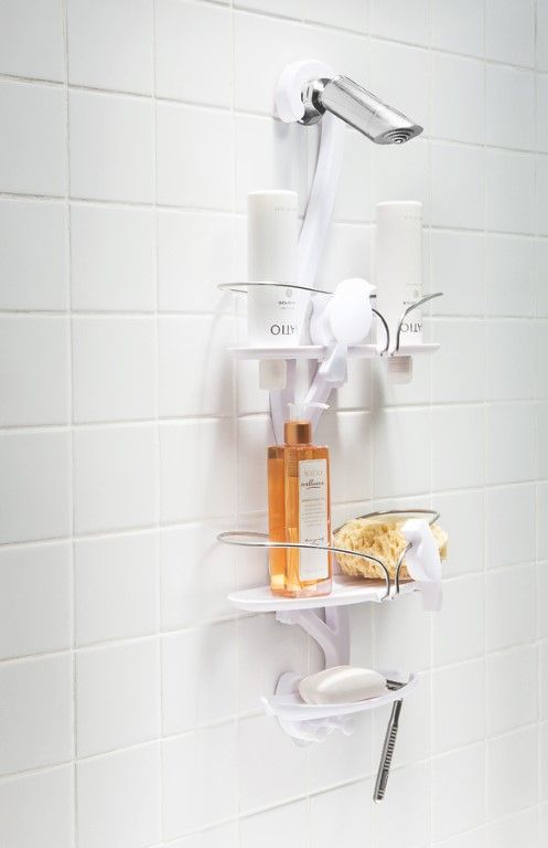 Umbra Bird Bath Shower Caddy Soap Dish Two Razor Ports Hooks Suction Cup