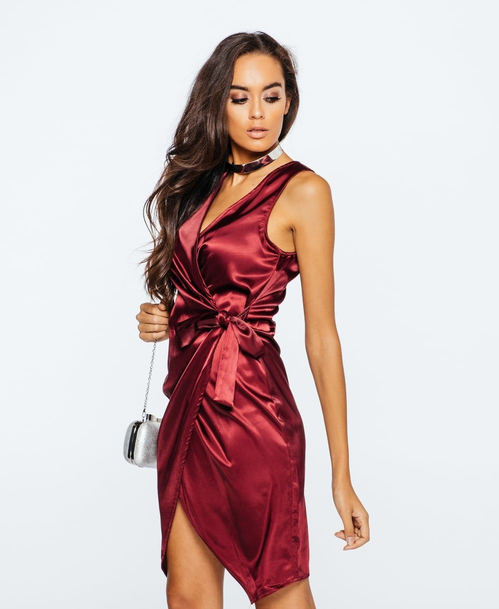 be87d3048d Sukienka satynowa Gwen (burgund) satynowa sukienka