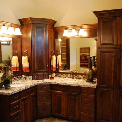 Pin By Cf Olsen Homes On Bathroom Designs Corner Bathroom Vanity Double Sink Bathroom Vanity Bathroom Remodel Master