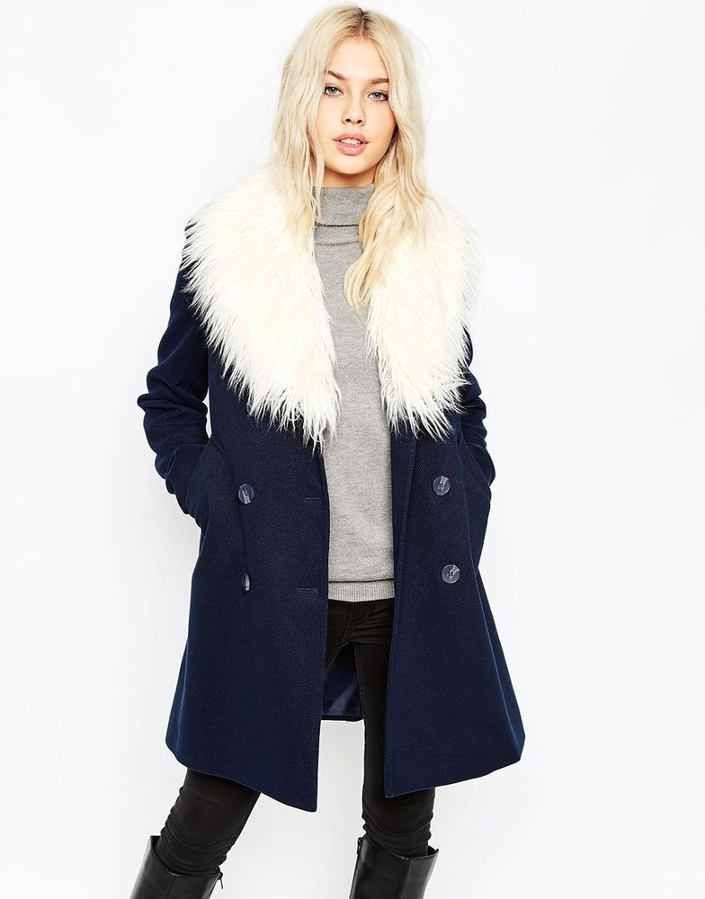 ASOS Ladies Pea Coat with Faux Fur Trim in Navy UK 12/EU 40/US 8 ...