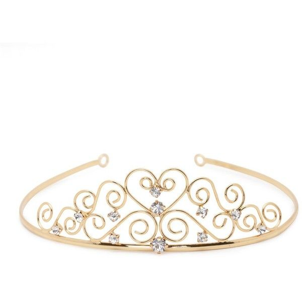Gold crystal heart tiara ($6.86) ❤ liked on Polyvore featuring accessories, tiara, jewelry, crowns, hats, women's clothing, gold crown, jon richard and crystal crown