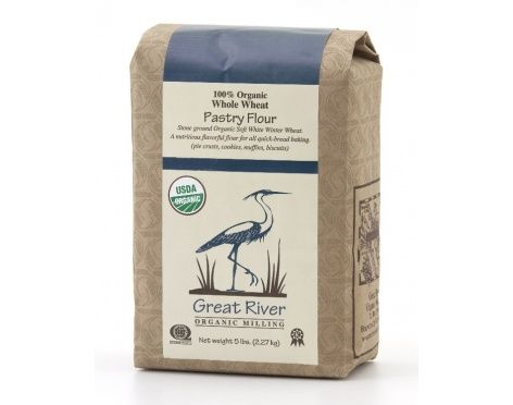 Stone ground organic soft white winter wheat.  A nutritious flavorful flour for all quick-bread baking (pie crusts, cookies, muffins, biscuits). Great River Organic Milling uses old fashioned stone wheels to grind their grains. This process involve less heat and nothing is removed from the grain. All the nutritional components of the grain go back into the bag.