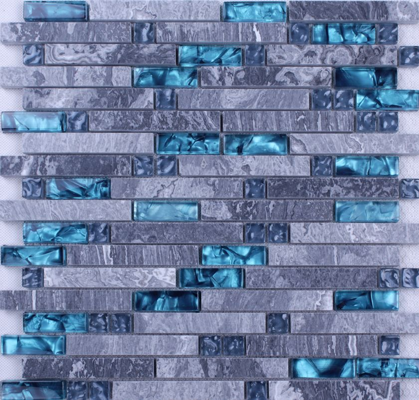 Find this Pin and more on Backsplash Tile. - Front Side Of The Grey Stone Blue Glass Blend Mosaic Tile Wall