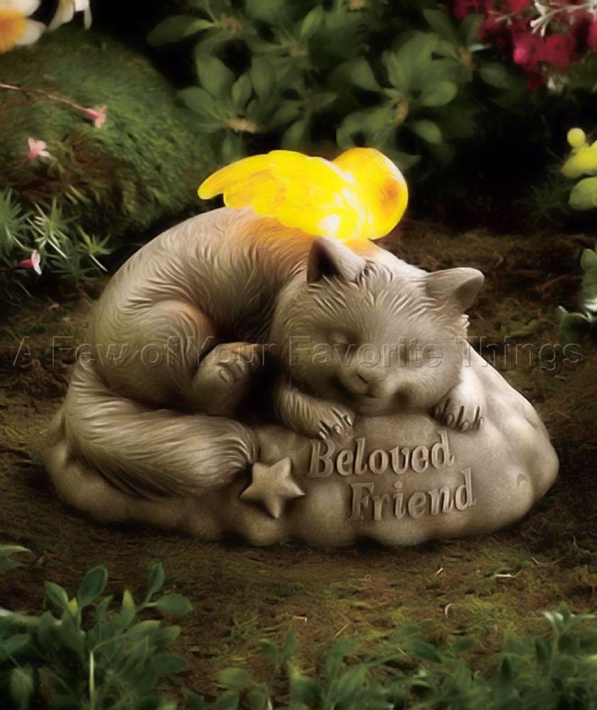 Cat Solar Pet Memorial Grave Stone Flowerbed Garden Statue Yard Outdoor Decor Fur Babies