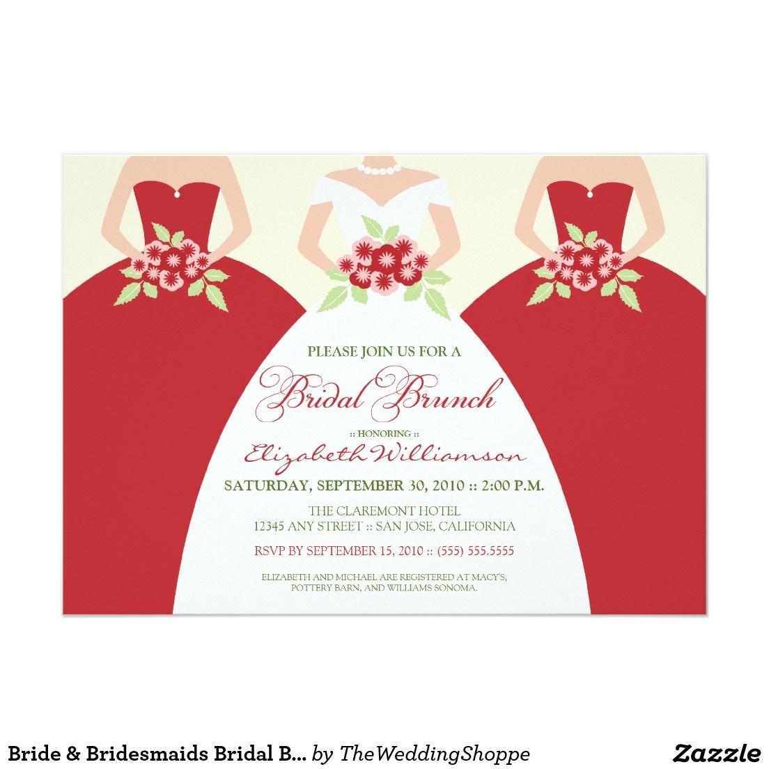 Bride & Bridesmaids Bridal Brunch Invitation (red) | Bridal, Brides ...