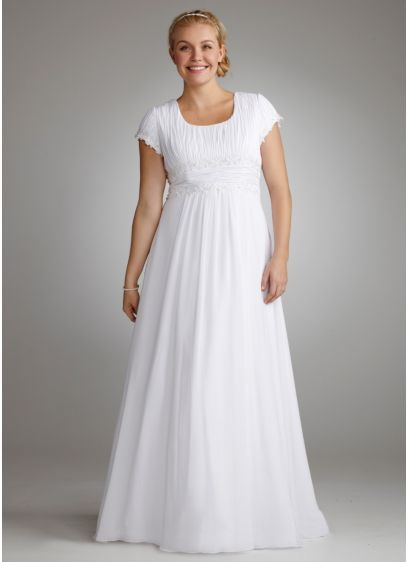e4da3780483 Long A-Line Simple Wedding Dress - David s Bridal Collection ...