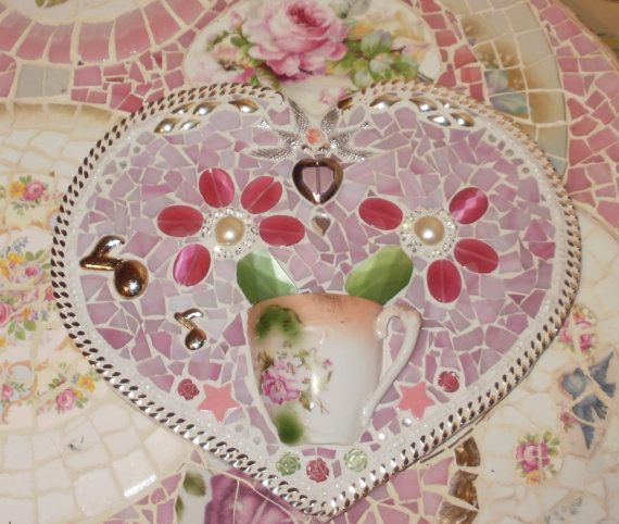 He loves me ...he loves me not Tesserae: vintage moriage demitasse tea cup, monet necklace, napier earrings, pink glass pendant, pink