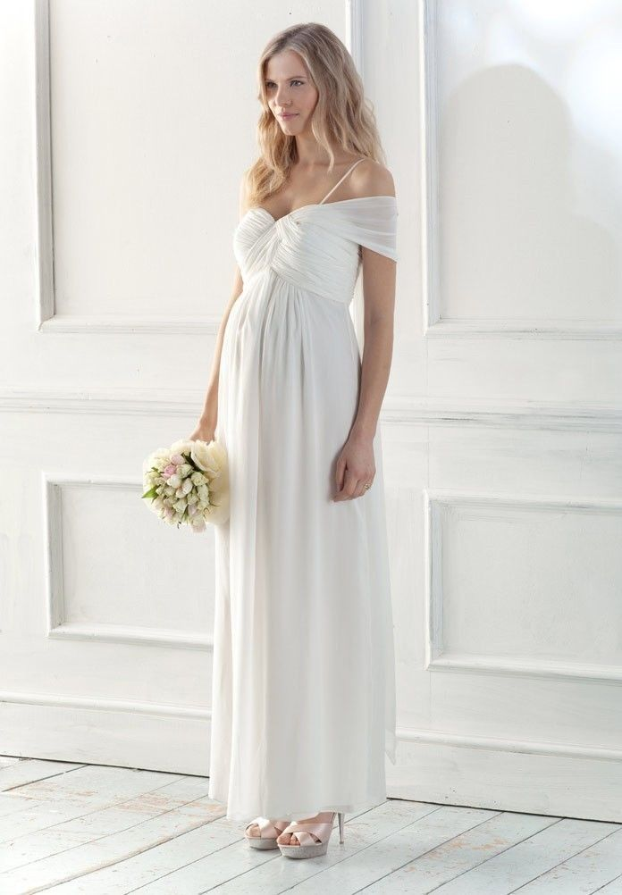 Chiffon Sweetheart Empire A Line Long Maternity Wedding Dress