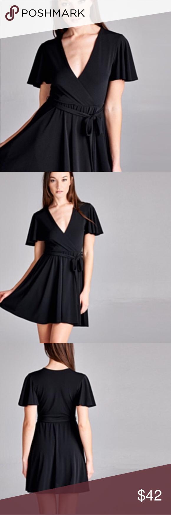 New with tags black wrap dress size l nwt faux wrap dress wrap