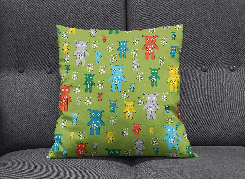 Green cushion monster nursery cushion boys room decor green