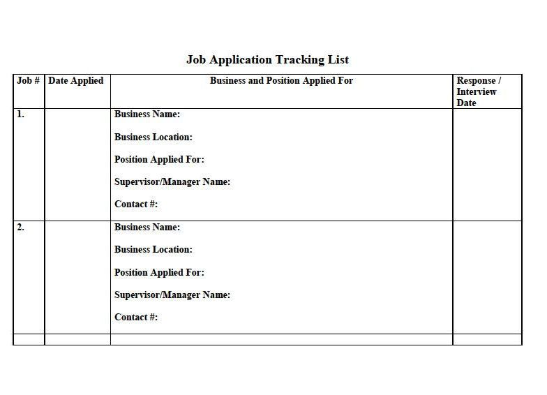 2 Page Job Application Tracker template located at   - job application template