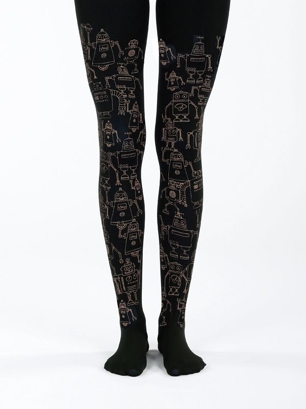Black robot tights! 50 denier 21107fcbc1