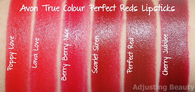 Review And Swatches Of Avon True Colour Perfect Reds Lipsticks Avon True Perfect Red Lipstick True Colors