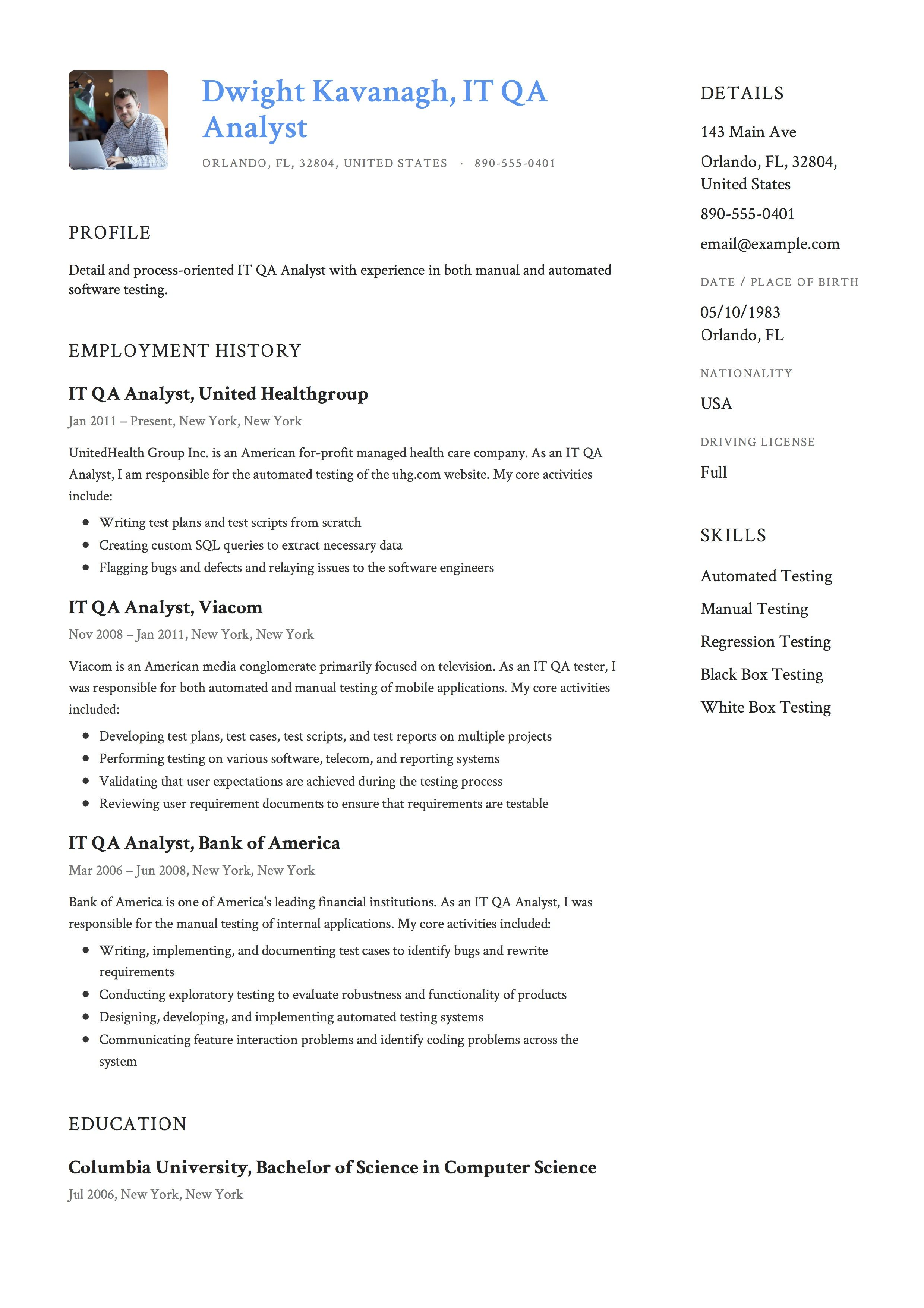 It Qa Analyst Resume Example Resume Guide Resume Pdf Manual Testing