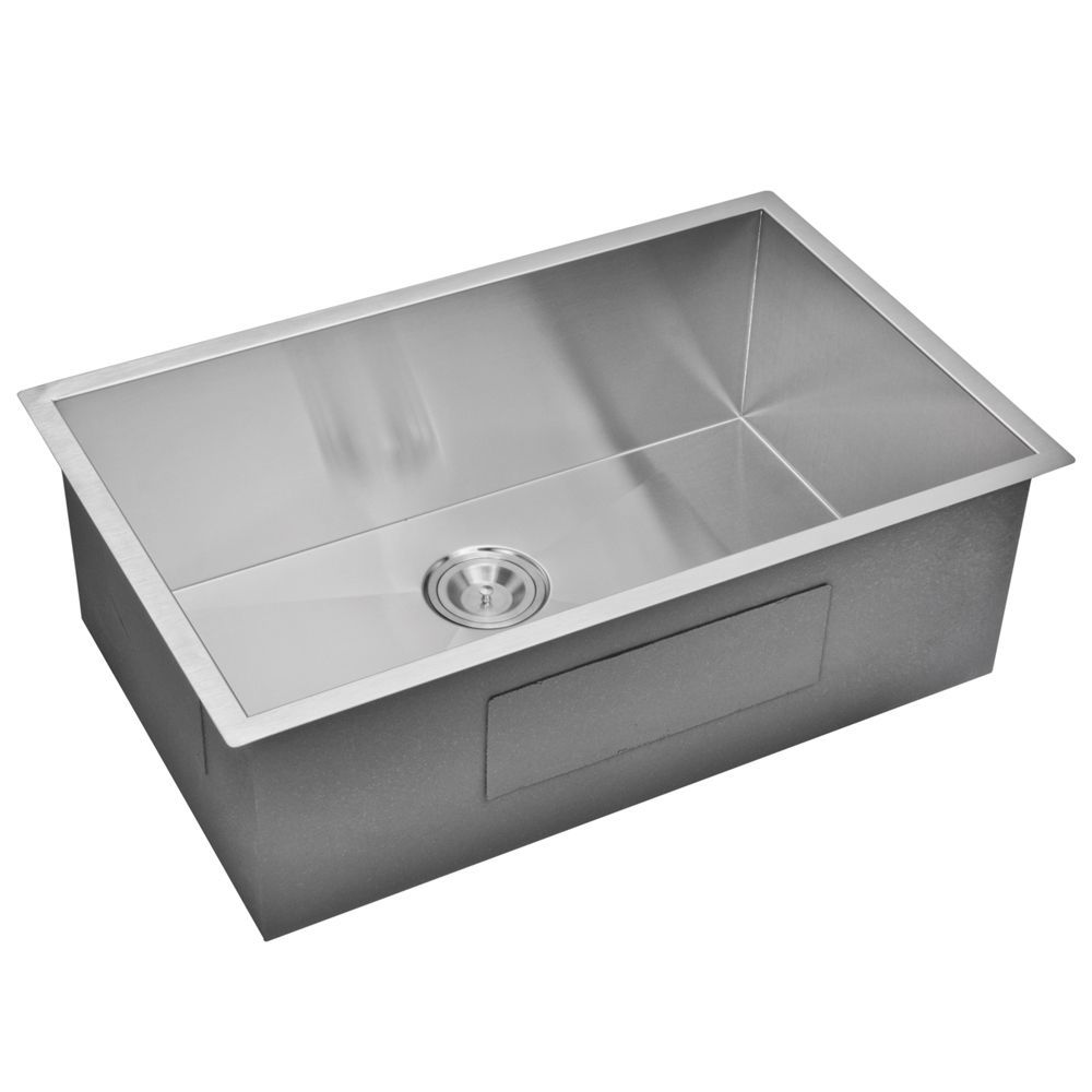 Water Creation 30 Inch X 19 Inch Zero Radius Single Bowl Stainless Steel Hand Made Undermount Kitchen Sink Undermount Kitchen Sinks Sink Water Creation